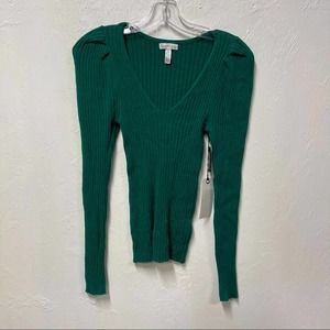 Leith Fitted Puff Sleeve Sweater M